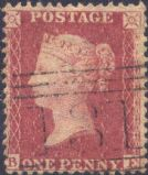 1857 1d Rose-red SG40 Plate 60 'BE'